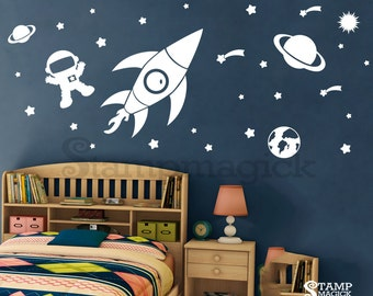 Outer Space Wall Decal For Baby Boy Nursery   Rocket Planet Stars Vinyl Wall  Decor   Childrenu0027s Room Bedroom   K150