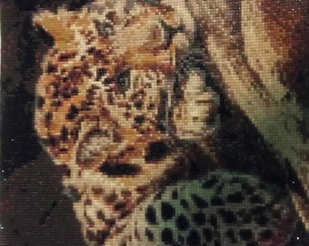 Leopard Diamond beaded portrait