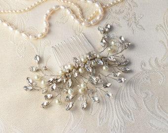 Rhinestone Hair Comb, Bridal hair Comb, Wedding Hair Comb, Pearl hair Comb, Rose Gold hair Comb, Crystal hair Comb, Bridal hair Jewelry