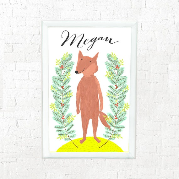 Whimsical personalized fox art print for child, custom art for kids, baby shower gift, illustrated fox, baby gift, child's name on fox print