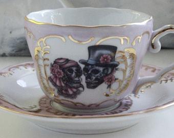 Pink and Gold Sugar Skull Couple Teacup & Saucer Set, Sugar Skull Bride and Groom Tea Cup, Add your Monograms, Sugar Skull Wedding Teacup