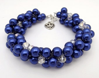 Royal Blue Bracelet, Chunky Pearl Bracelet, Blue Bridesmaid Jewelry, Pearl Cluster Bracelet, Blue Pearl Wedding Jewelry