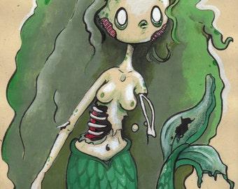 Undead Mermaid - Mini Print