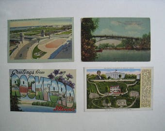 Illinois vintage postcards. Lot of 4. 1929-1945. Travel souvenir ephemera lot for collage, scrapbook, display. Greetings from Rockford!