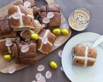 Hot Cross Buns Stickers - 6 pack - baked goods decor - waterproof & removable