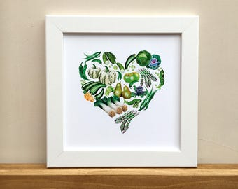 Green heart fruit and vegetables, illustrated print for framing.