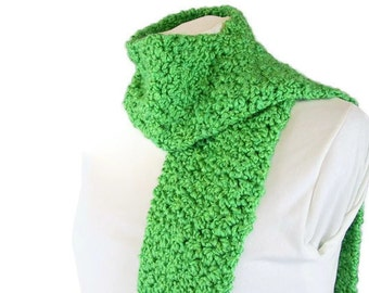 Handmade Crochet Scarf for Him or Her - Emerald Green Unisex Scarf