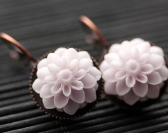 Pale Purple Dahlia Flower Earrings. French Hook Earrings. Pale Purple Flower Earrings. Lever Back Earrings. Handmade Jewelry.