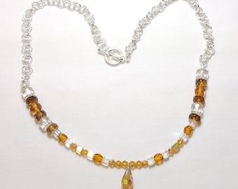 November Golden Topaz Crystal Necklace with Teardrop Pendant
