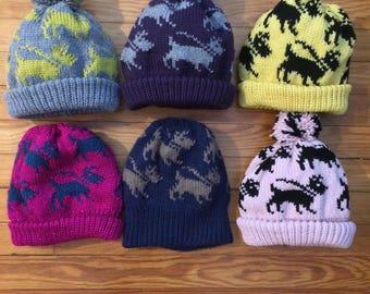 Dog lovers hat // Gift for dog owner // Walking black scottish terrier // Handmade adult hat // handmade in USA