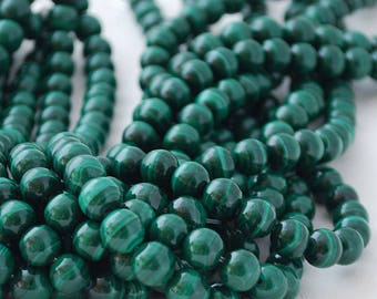 "High Quality Grade A Natural Malachite Semi-precious Gemstone Round Beads - 4mm, 6mm, 8mm, 10mm sizes - Approx 16"" strand"