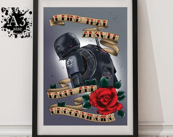 A3 - K2SO Star Wars Rogue One Tattoo Print