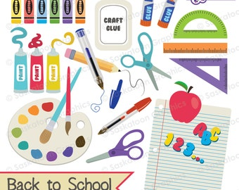 Back to School Clipart - Educational - Instant Download File - Digital Graphics - Crafts, Parties - Commercial & Personal - #E001