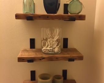 Sets Of 3 Reclaimed Wood Bathroom Shelves With 6 Handmade Steel Shelf  Brackets