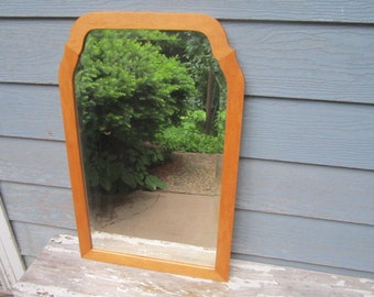 "Vintage 1940s Beveled 18""x28"" Arched Hanging Mirror with Solid Birdseye Maple Wood Frame"