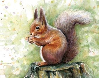 Squirrel Watercolor Print, Squirrel Watercolor Painting, Animals Art Print, Nursery Art, Nursery Print, Cute Animals, Whimsical Art