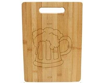 Laser Engraved Cutting Board - 009 - Beer mug
