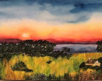 Prairie Sunset - Original Watercolor