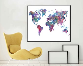 Poster World Map Print World Map Art World map Wall Art Large World Map Poster Large World Map