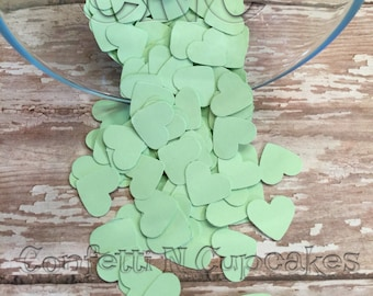 Mint Green Heart Confetti, Baby Shower Decor, Wedding Reception Confetti, Scrapbook embellishment, Invitation Confetti, Piñata Filler,