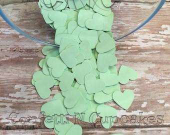 Confettis coeur vert, confettis de réception de mariage, Baby Shower Decor, embellissement de scrapbooking, Invitation Confetti, Piñata de remplissage, à la menthe