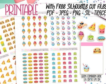 Printable Planner Stickers, Food Stickers, Fast Food Stickers, Functional Stickers, Printable Sticker Sheets, Kawaii Stickers