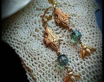 Agatha, Vintage Style Art Deco Bumblebee Earrings
