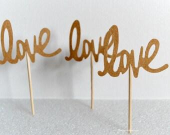 Cupcake Toppers - Kraft Love Cupcake Toppers - Wedding Bridal Shower Party Food Picks - Rustic Weddings - Love Cutout Appetizer Picks 12 Pcs