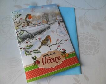 1 x double cardstock patterned bird card + envelope 16 x 11.5 cm