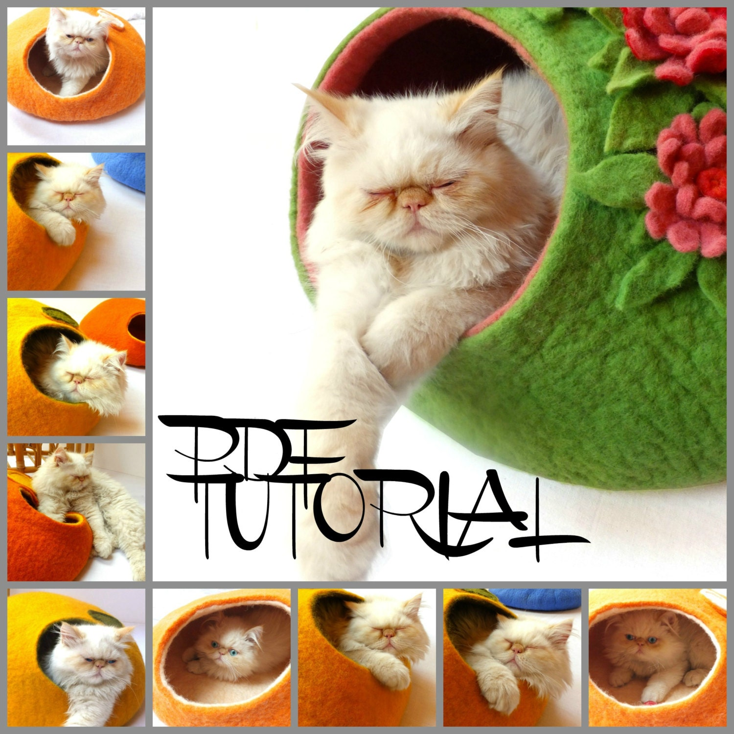 2 in 1 pdf tutorial in english felted cat cave and felted zoom jeuxipadfo Gallery