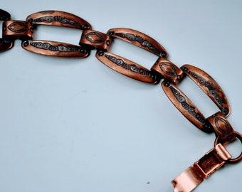 Vintage Solid Copper Link Bracelet - Embossed Design