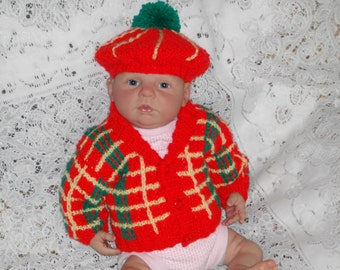 Knitting PATTERN No. 20 Newborn Tartan Jacket & Tam O Shanter PDF Format