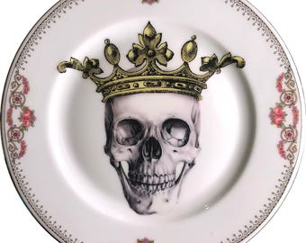 Skeletor King - Skull - Vintage Porcelain Plate - #0584