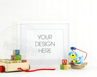Styled Stock Photography / Empty Blank Frame / Product Photography / Staged Photography / Product Background / Kid Room Neutral Toys / KN005