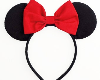 Minnie Mouse Ears Disney Ears Red Minnie Mouse Bow Princess Ears Cute Red Mickey Mouse Ears Snow White Ears Disney Bow Women Girls Toddler