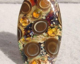 UMBER Handmade Lampwork Art Glass Focal Bead - Flaming Fools Lampwork Art Glass  sra