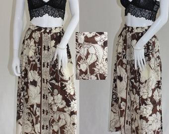 Vintage JAEGER MAXI skirt ,  1970's long cotton brown floral skirt, MEDIUM size