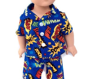 18 Inch Boy Doll Pajamas, Super Hero Boy Doll Shorts Set or Pajamas, Summer Doll Pyjamas, 18 Inch Boy Doll Clothes, Made to Order