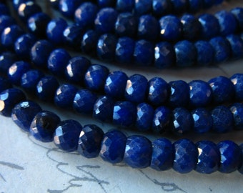 Shop Sale.. 5 10 25 pc, SAPPHIRE Beads Rondelles, Medium to Dark Blue, Luxe AAA, 3-4 or 4-5 mm, september birthstone dsa tr 34 45