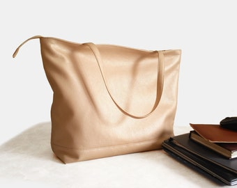 Rose gold Laptop bag women Large tote Metallic beige Vegan leather bag Mothers day gift Office handbag