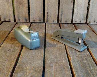 Vintage Stapler and Scotch Tape Holder