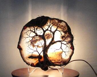 NoT SaLe, ReSeRved Wire Tree Of Life SpiRits Natural Scenic Brazil Geode Agate Gemstone Lamp, Weddings, Anniversary, handmade original art