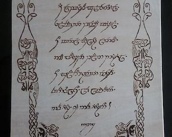 A Elbereth Gilthoniel woodburned inscription.
