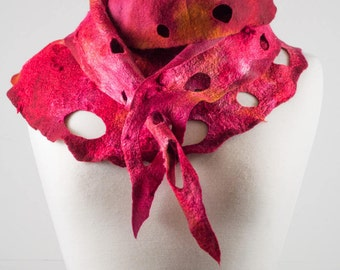 Red Felt Scarf | felted scarf | Hand Dyed scarf| Nuno felt scarf| Gift | Felted scarf | Lacy scarf| silk | Unique Style| Orange