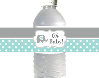 Printable Water Bottle Labels Elephant Baby Shower Oh Baby Shower Light Teal Grey Favor Labels INSTANT DOWNLOAD DIY Party Supplies 021