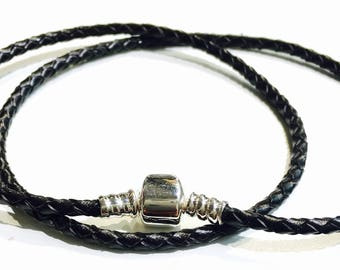 Bracelet double black braided leather or brown brown