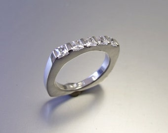 Wedding Band  - Princess Cut Diamonds - 14K Gold RF605