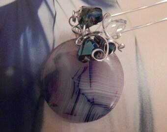 Blue Agate Swarovski Beaded Silver Embellished Pendant