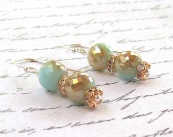 Aqua Quartz Earrings, Silver Earrings, gold earrings, blue earrings, sterling  hooks, dangle, fashion, 925, round, faceted