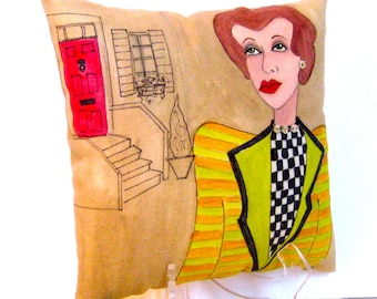 LONDON LADIES JUDITH, hand painted pillow, London, Queen, green stripes, row house, checkered, gift for her, London Ladies series